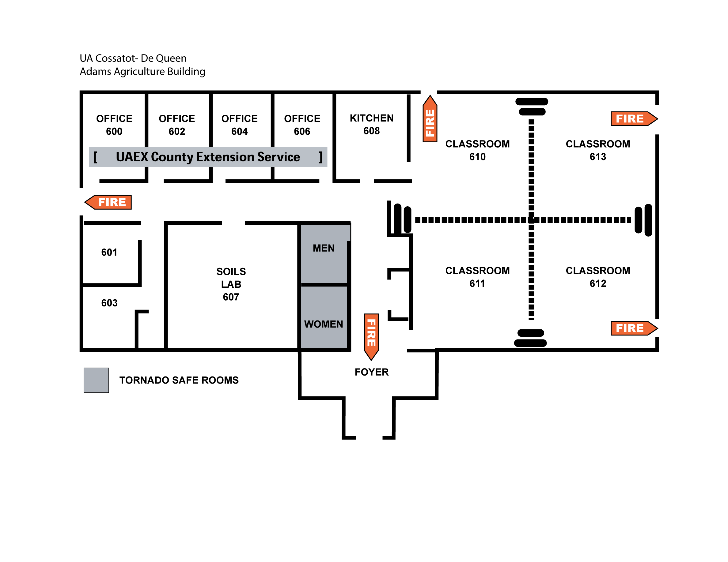 Map of Adams Agriculture Building on De Queen Campus