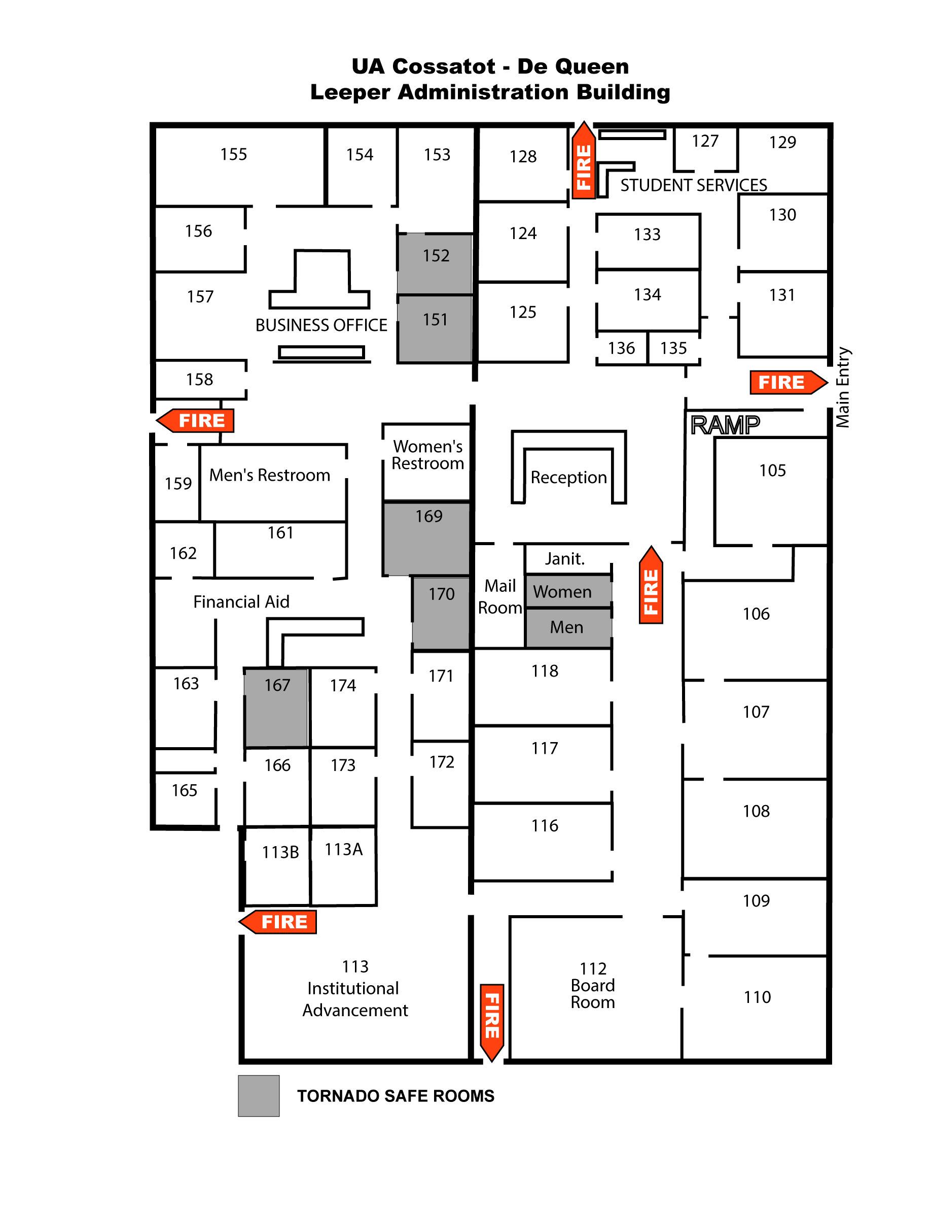 Map of Leeper Administration Building De Queen Campus