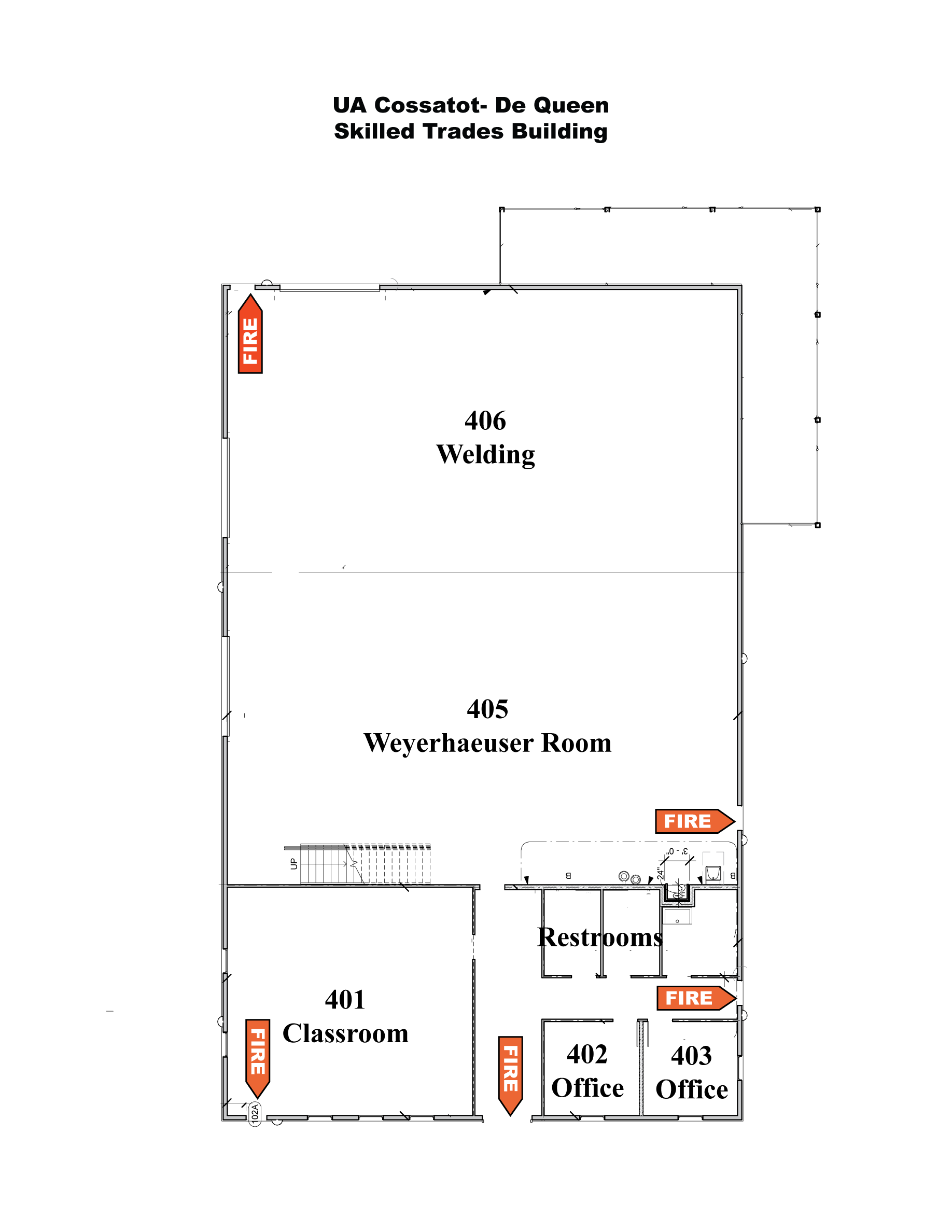 Map of Skilled Trades Building on De Queen Campus